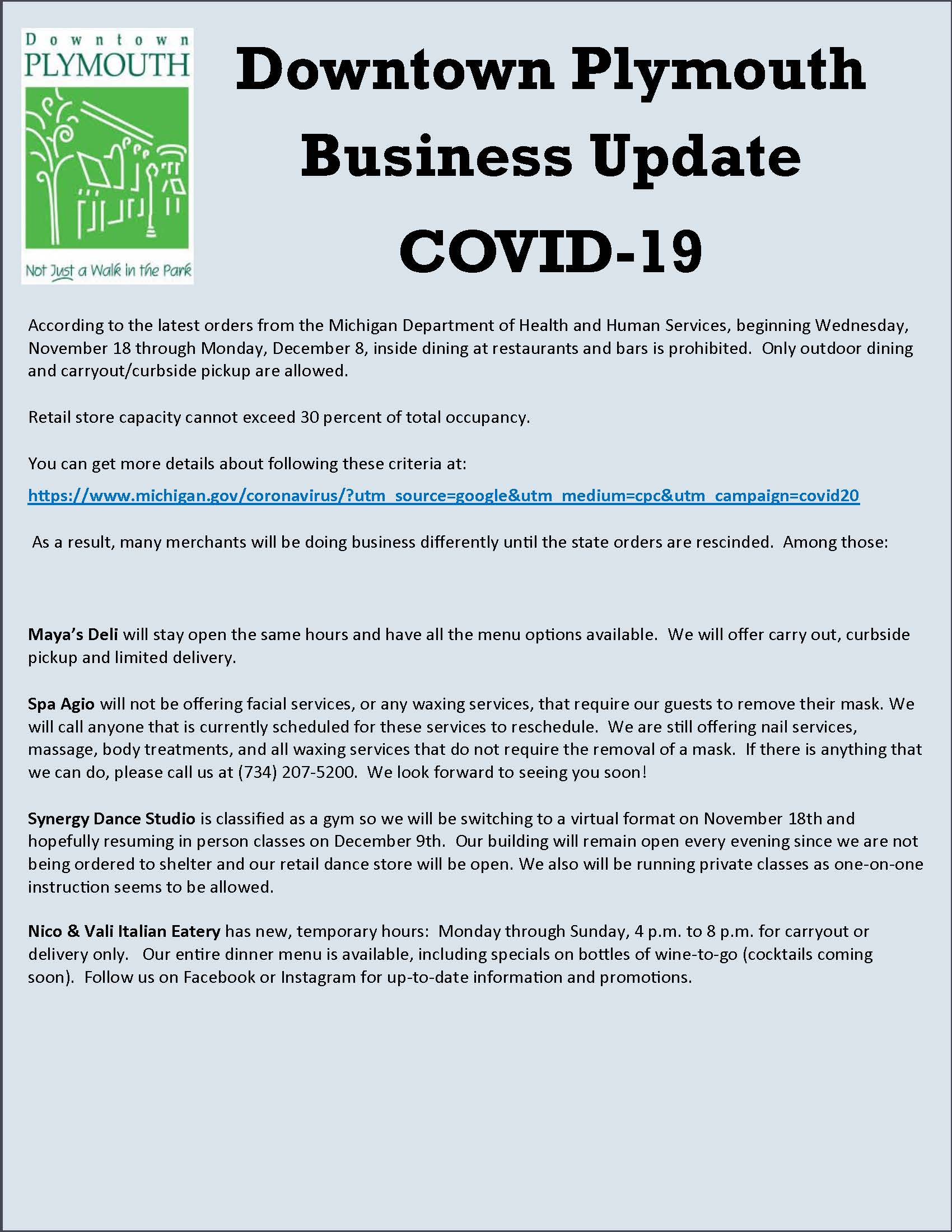 Downtown Plymouth business update 11-18-20