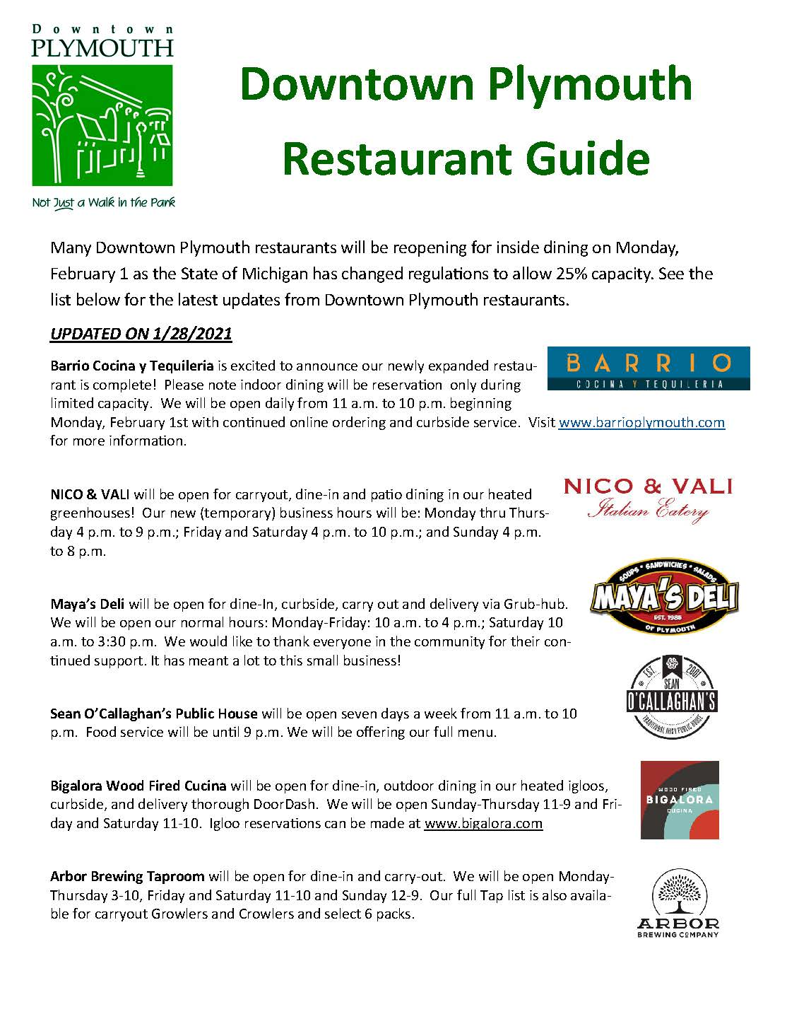 Downtown Plymouth Restaurant Guide 1-28-21